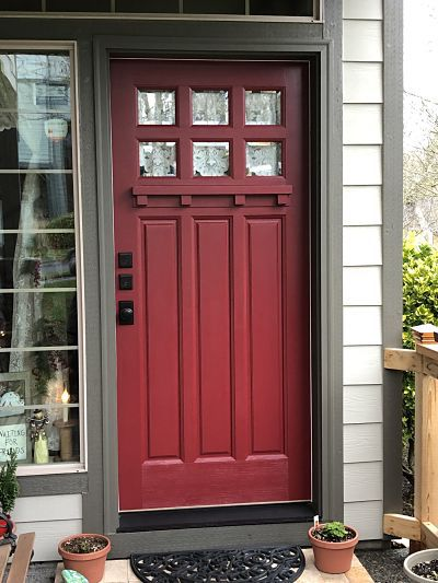 Ruby red front door